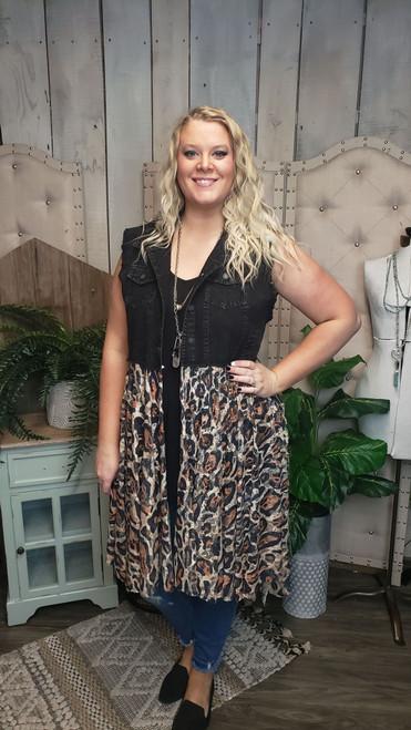 Curvy Black Denim and Leopard Lace Vest