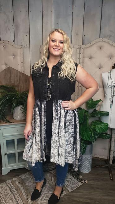 Curvy Black Denim and Lace Vest-Black Print