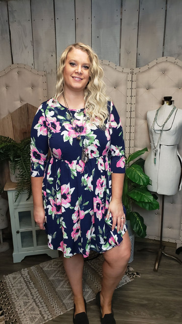 Curvy Navy and Pink Floral X Back Dress