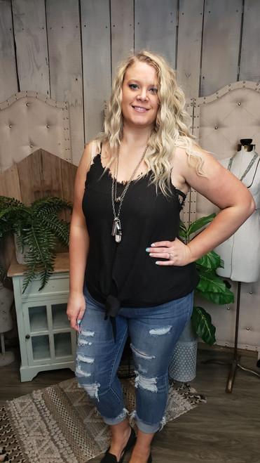 Curvy Katie Tie Front Top-Black