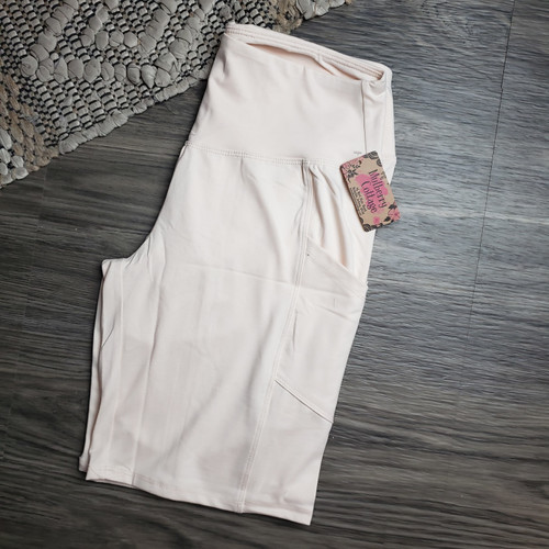 Curvy Buttery Soft Pocket Shorts-Taupe