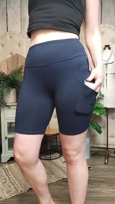 Buttery Soft Pocket Shorts-Navy