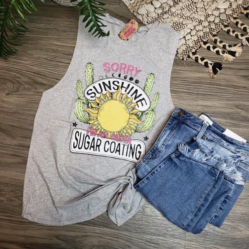 Sorry Sunshine Tank-Light Grey