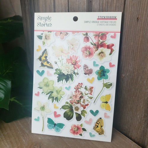 Simple Vintage Cottage Fields Sticker Book