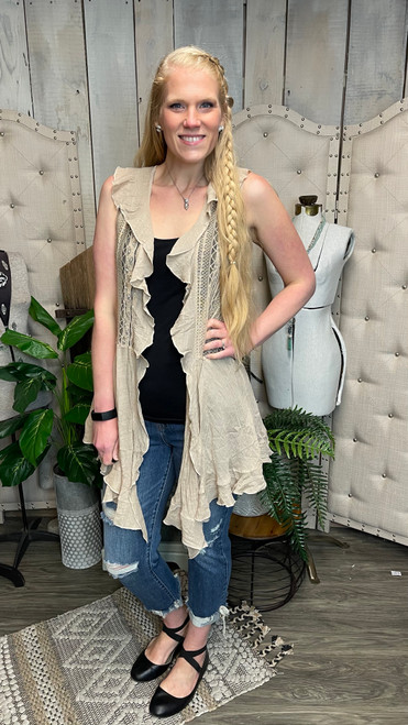 Lillian Ruffled Lace Vest-Taupe