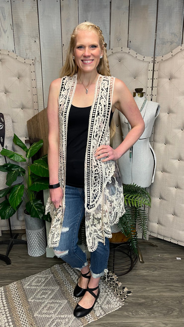 Crochet Vest with Lace Trim-Italy