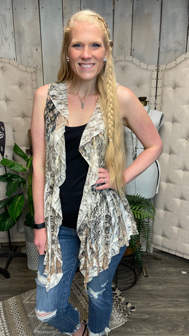 Full Lace Vest W/Ruffle-Taupe Print