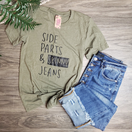 Side Part & Skinny Jeans Tee-H. Olive