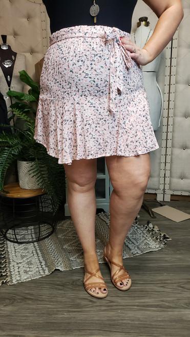 Curvy Floral Belted Skort-Pink