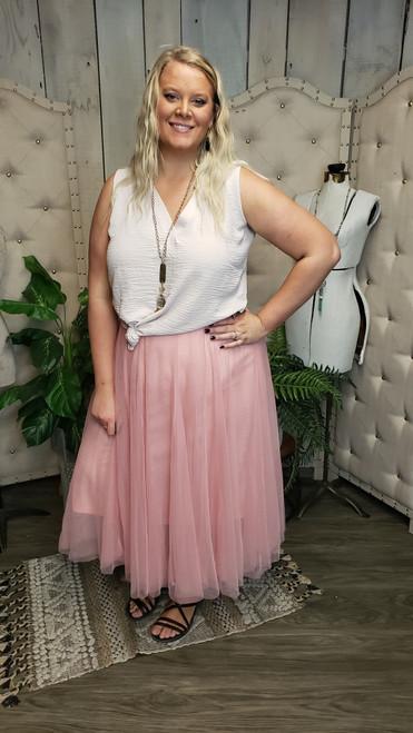 Curvy Royal Tulle Skirt-Blush