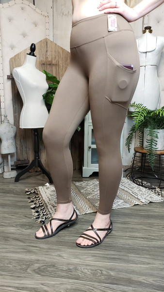 Buttery Soft Yoga Pocket Legging - Mocha