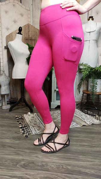 Buttery Soft Yoga Pocket Legging - Hot Pink