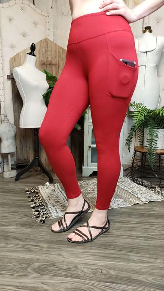 Buttery Soft Yoga Pocket Legging - DK Red