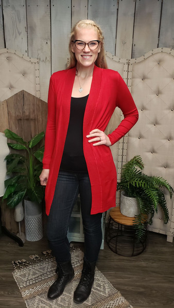 Sweetheart Sweater-Long-Red