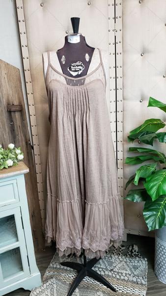Curvy Dotted Lace Layering Dress - Mocha
