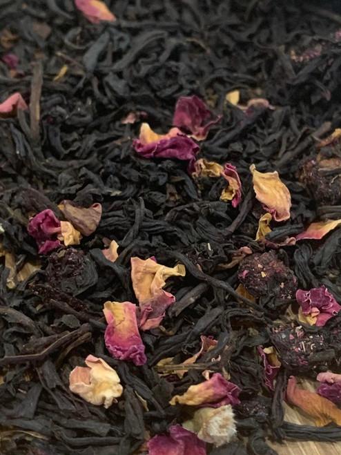 Sisters Tea Company Wild Cherry Rose Black Tea close up