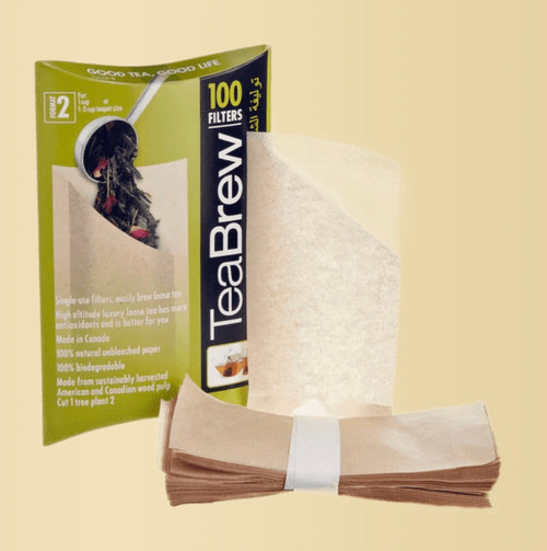 Size 2 TeaBrew Filter Package, contains 100 disposable filters