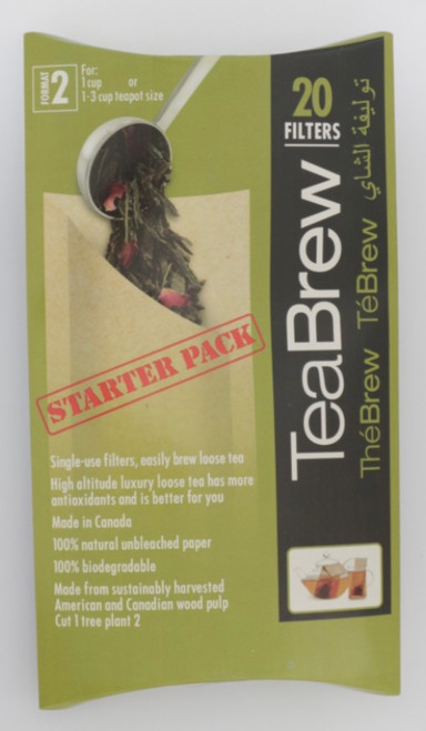 TeaBrew Size 2 Starter Pack, contains 20 disposable filters