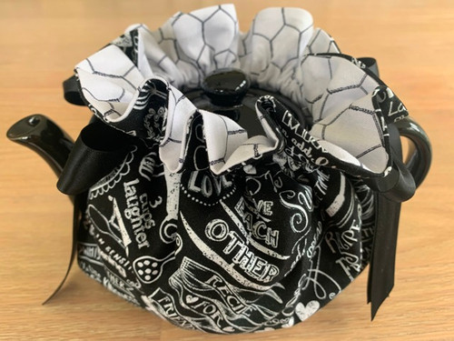 tea cozy, friendship, black and white tea cozies