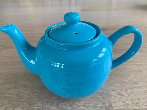 tea pot, blue tea pot, 3 cup tea pot