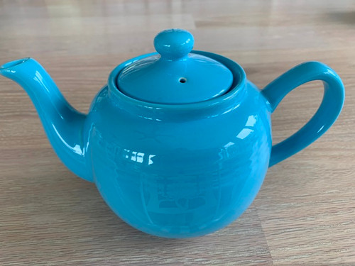 tea pot, blue tea pot, 3 cup tea pot