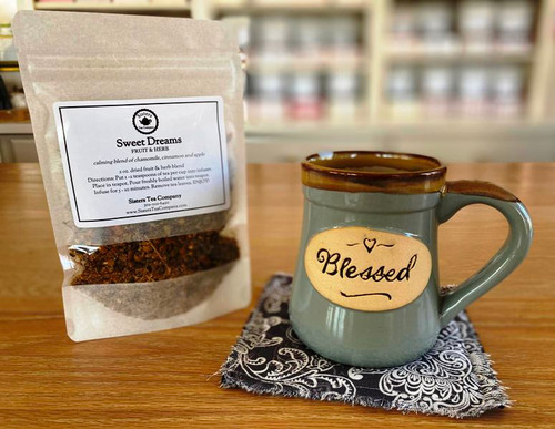 Blessed Mug with coordinating Mug Rug and 2 oz pouch of tea