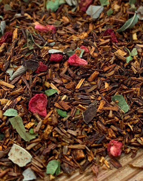 Sisters Tea Company A Raspberry in Paris Rooibos close up