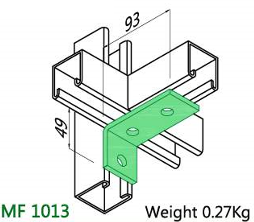 3 Hole M10 90° Angle Bracket  49x93 HDG  (Pack 20)