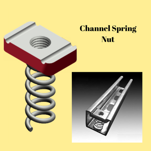 Channel Spring Nut Long M8 HDG