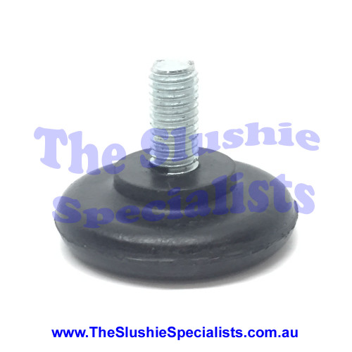 GBG Leg Flat M8x20mm Rubber foot with metal screw thread protruding approx 17mm Thickness: 8mm Part Number: SL300350856 SKU: 1720300856 Suitable (but not limited) to the following models; GBG, Sencotel, Staff Ice Slushie Machines Other names this part goes by is; rubber leg, rubber foot, GBG leg, GBG foot, GBG base support, rubber base support.