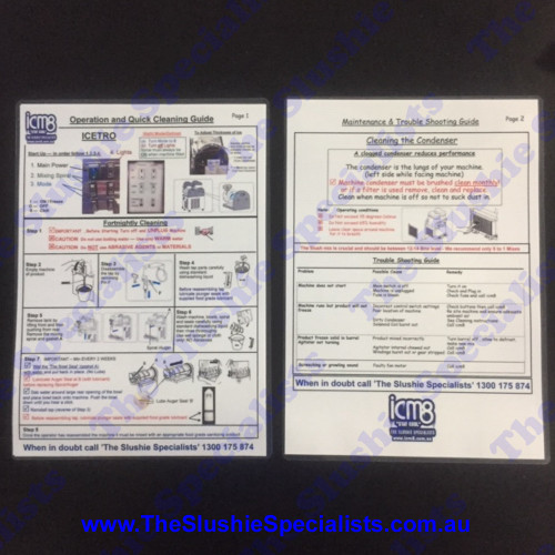 Laminated Instructions Sheet - Icetro/Jetice