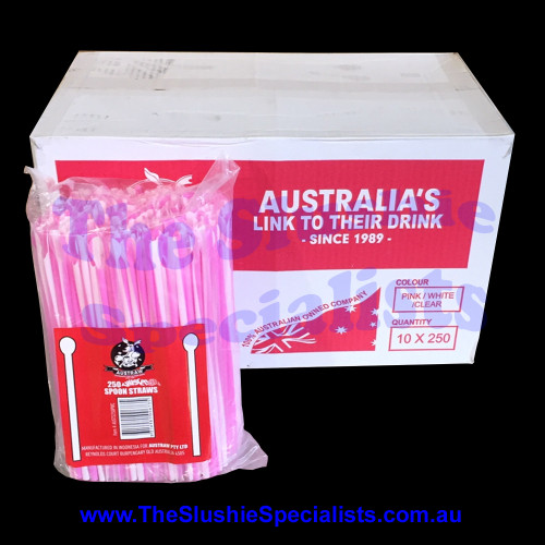 Twisted Pink/White/Clear Spoon Straw Box (Qty 2500)