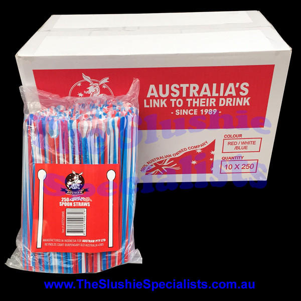 Twisted Red/White/Blue Spoon Straw Box (Qty 2500)