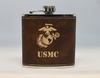 Brown and Gold USMC Flask