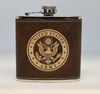 Brown and Gold Army Flask