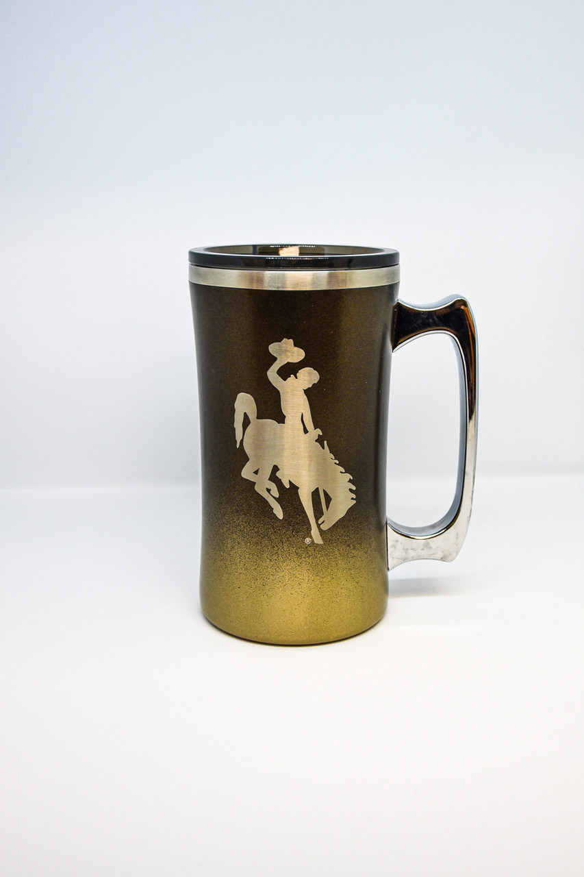 University of Wyoming Steamboat engraved on a brown and gold 20 oz Hogg Mug