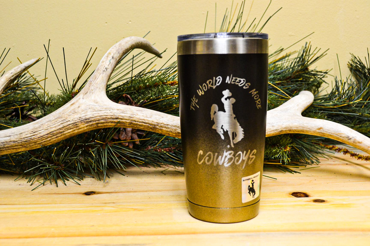 World Needs More Cowboys Brown and Gold on 20 oz Yeti Rambler