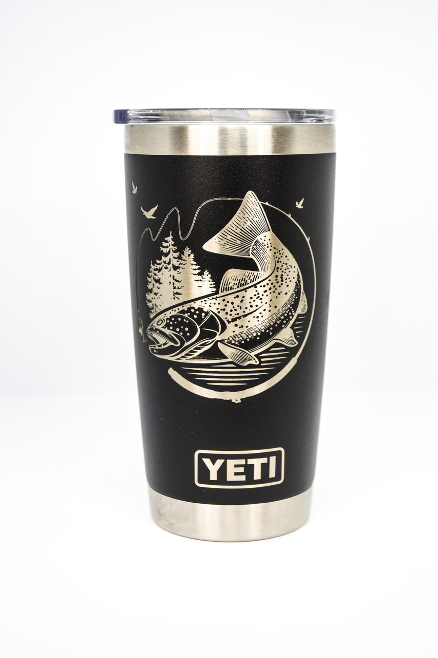 Jumping Trout on a Black 20 oz Yeti Rambler