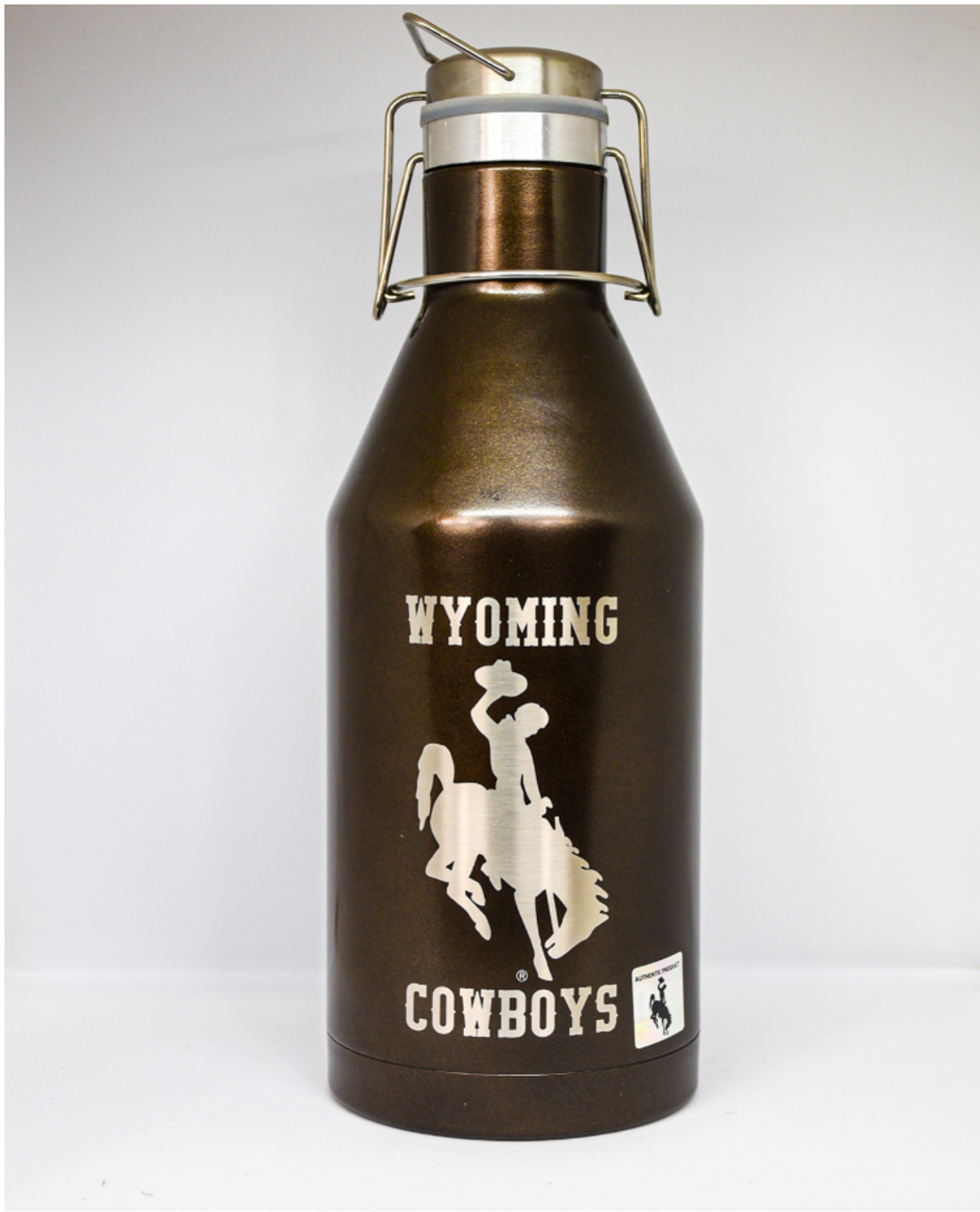 64 oz Growler custom powder coated and engraved with the Wyoming Cowboys logo
