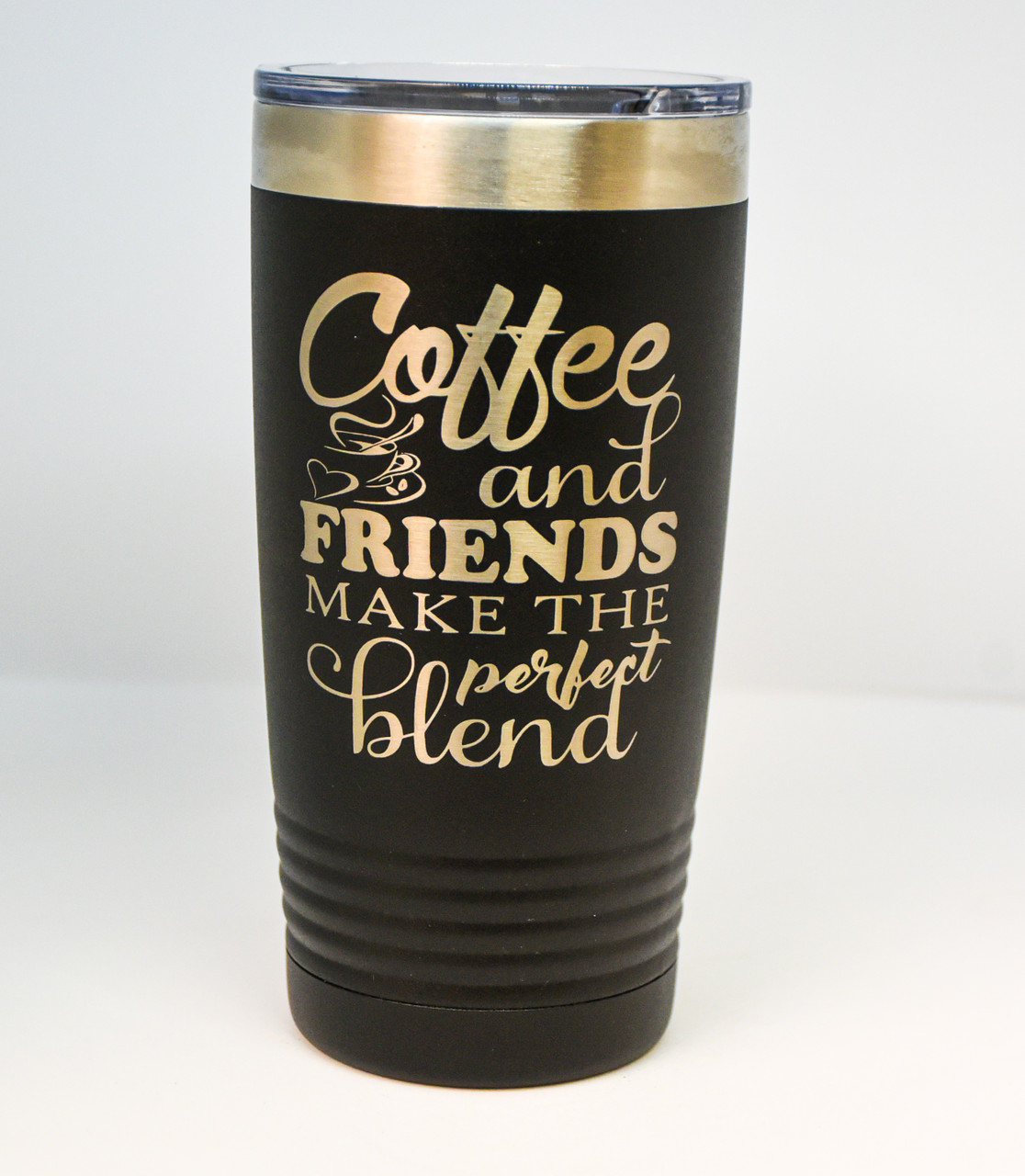 20 oz Black Polar Camel Engraved with Coffee and Friends Quote