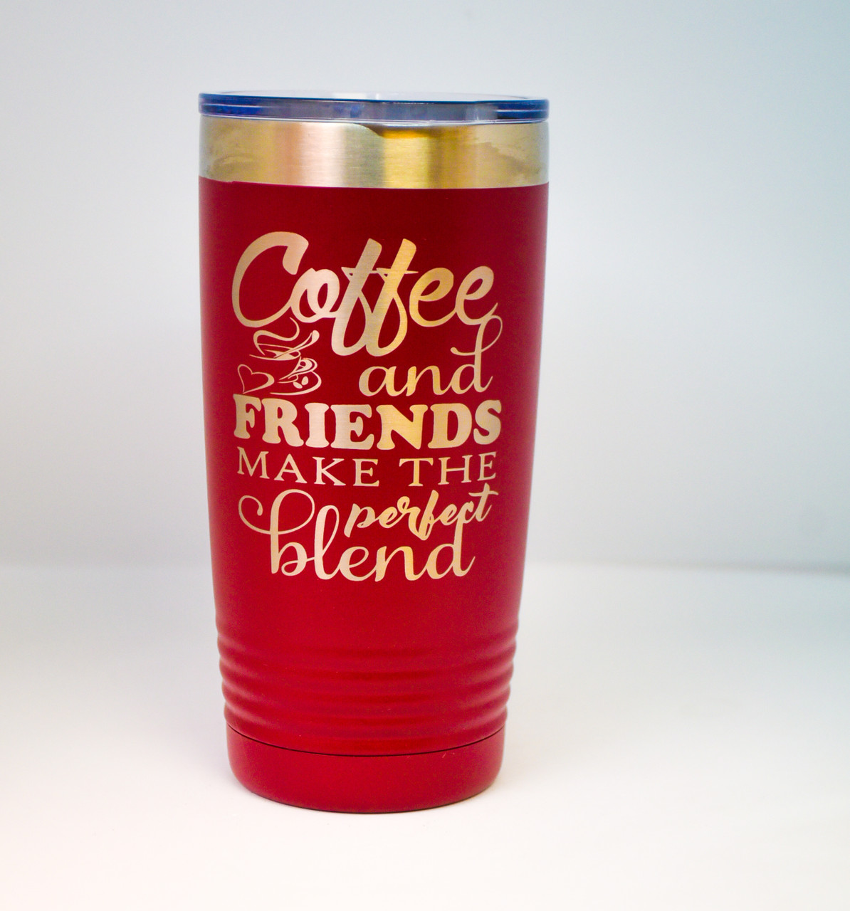 20 oz Red Polar Camel Engraved with Coffee and Friends Quote