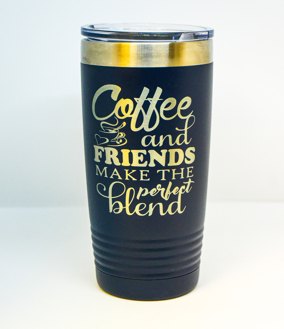 20 oz Navy Polar Camel Engraved with Coffee and Friends Quote
