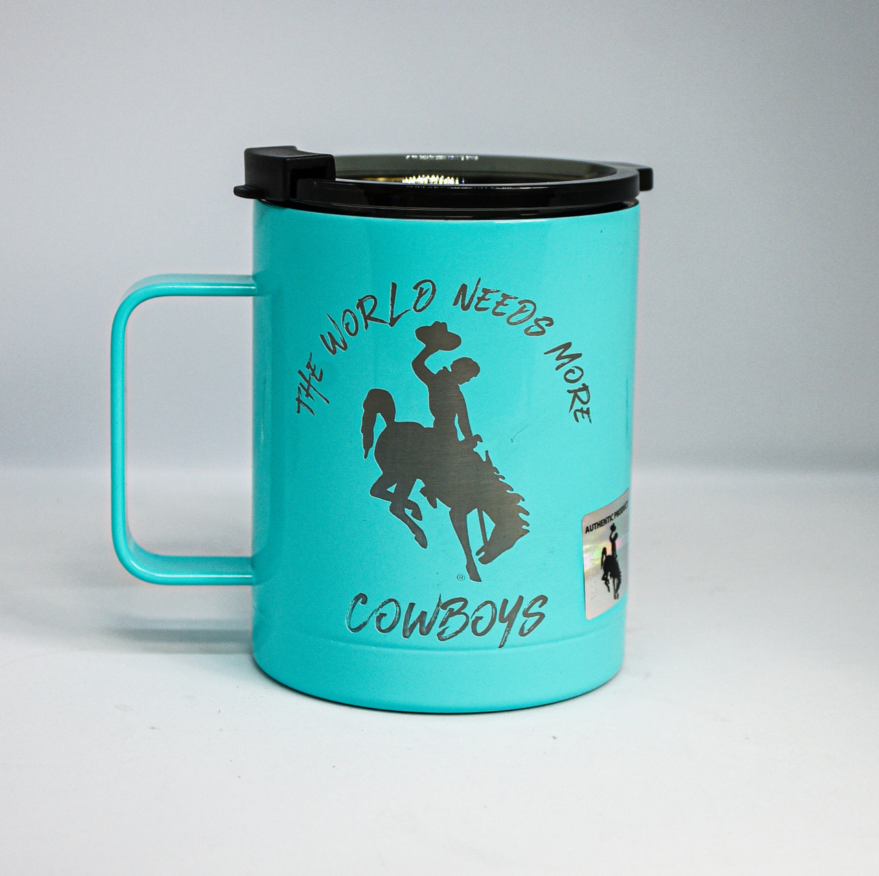 World Needs More Cowboys Engraved on Tiffany Blue RTIC Coffee Tumbler
