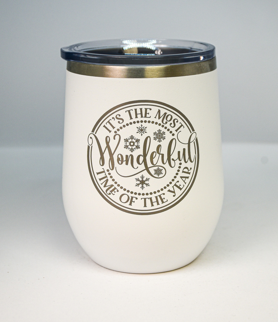 The Most Wonderful Time of Year 12 oz Polar Camel Wine Tumbler