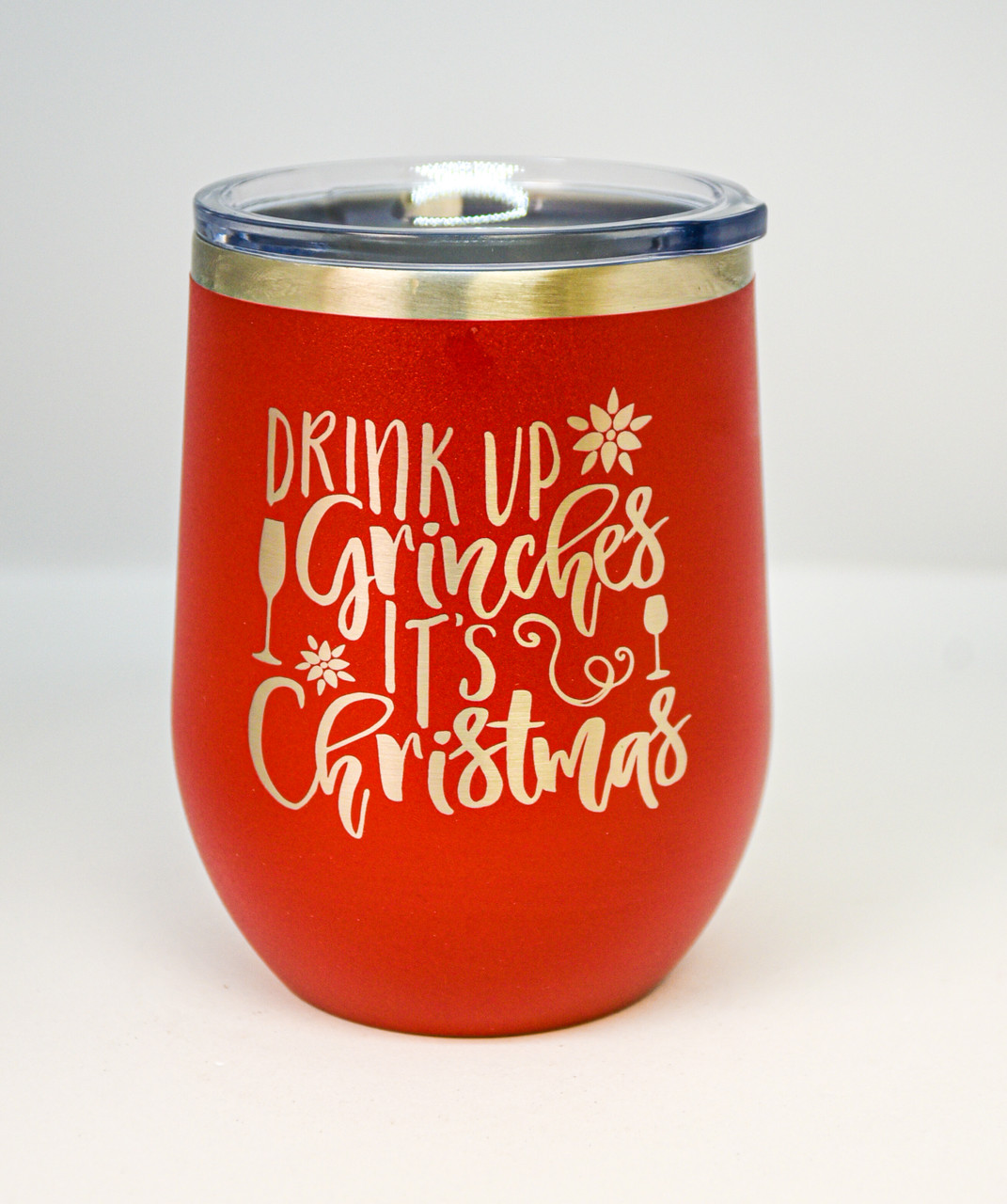 Drink Up Grinches 12 oz Polar Camel Wine Tumbler