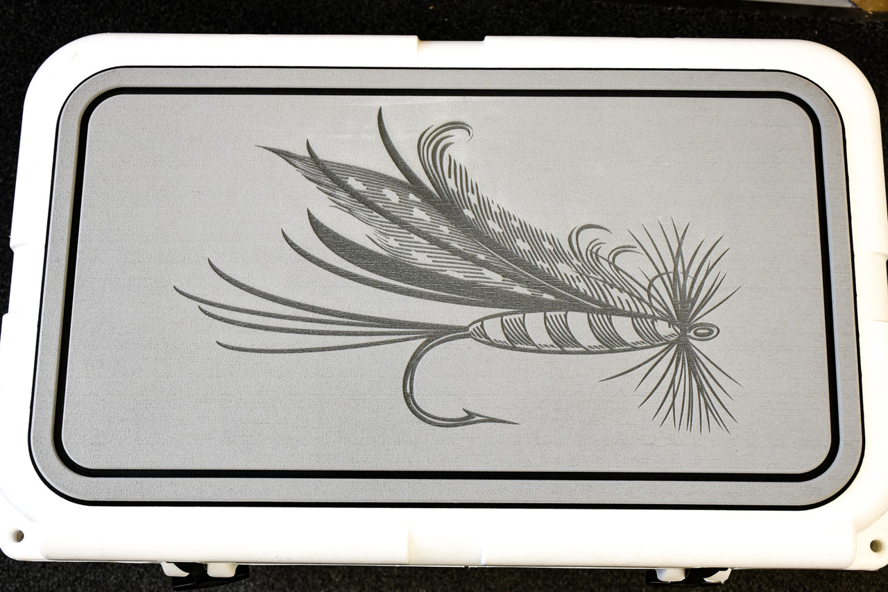 Dry Fly Engraved on Light Gray Cooler Pad