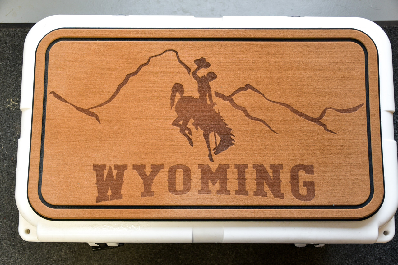 Wyoming Steamboat Engraved on a Brown Yeti Pad