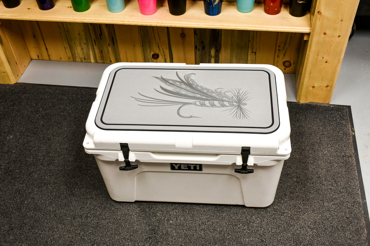 Dry Fly Engraved on a Light Gray Yeti Pad