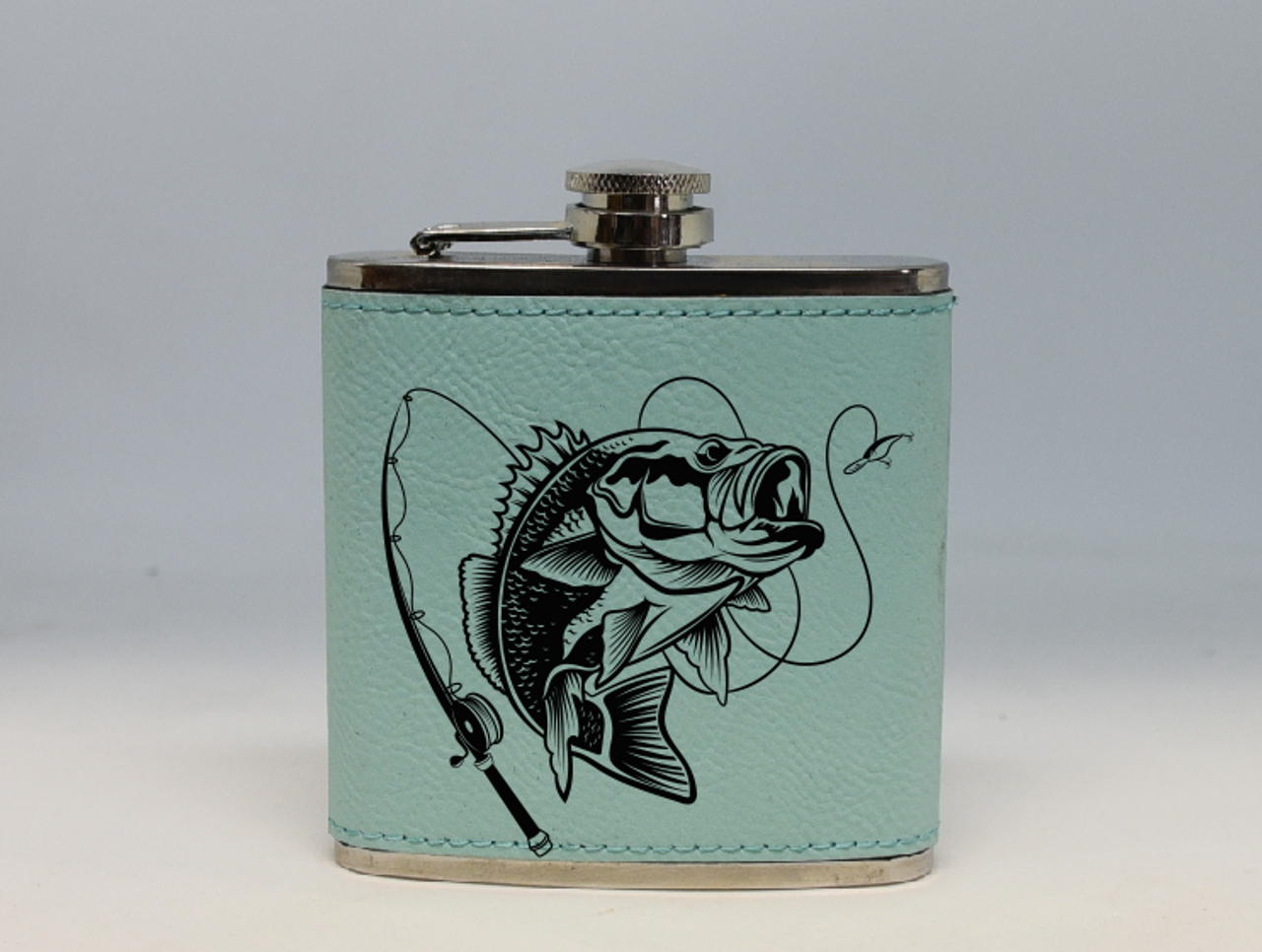 Teal Bass Fishing Flask