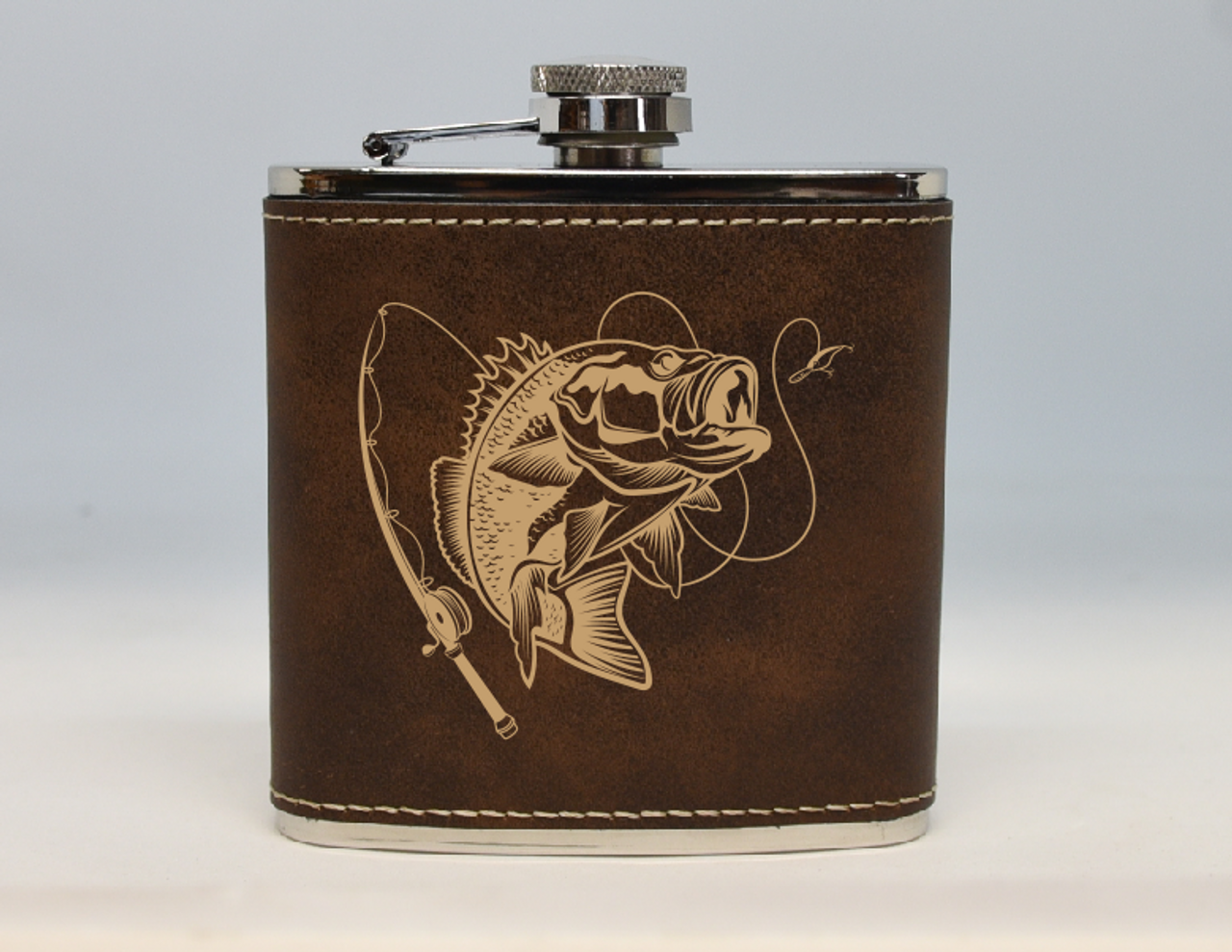 Brown and Gold Bass Fishing Flask